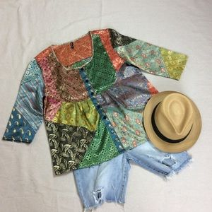 VTG PATCHWORK BROCADE BABY DOLL TOP SCARED THREADS